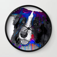 border collie Wall Clocks featuring Border Collie by Marlene Watson