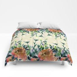 Hand painted modern ivory orange brown watercolor floral Comforters