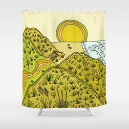 keen for a surf nz surf adventure by surfy birdy Shower Curtain