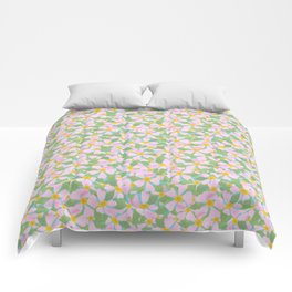 Pink Dogrose Flowers on Sky Blue Comforters
