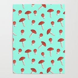 Elegant hand painted aqua red white watercolor mushrooms Poster
