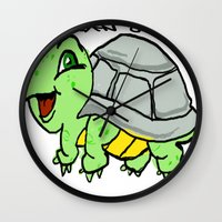 childish gambino Wall Clocks featuring childish turtle  by Martin