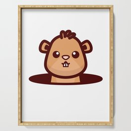 Happy Groundhog Day design Awesome Cute Groundhog design Serving Tray