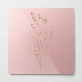 Prismatic Amaryllis Montana Botanical Mosaic - Gold on Pink Metal Print