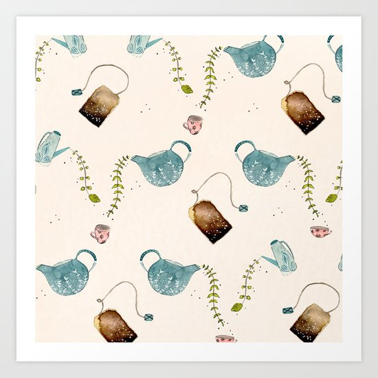 TEA PARTY PATTERN Art Print