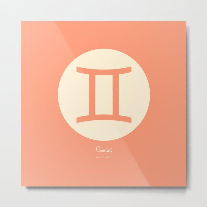 Gemini Symbol Pink Metal Print