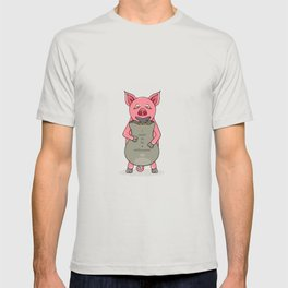 pig and bag with gold coins T-shirt