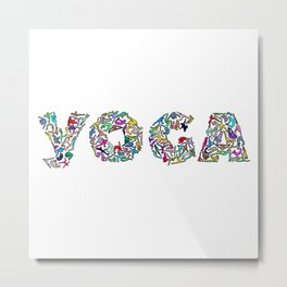 YOGA Figure Poses Metal Print