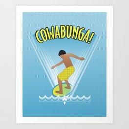 Cowabunga Flow-boarding Pop Art Art Print