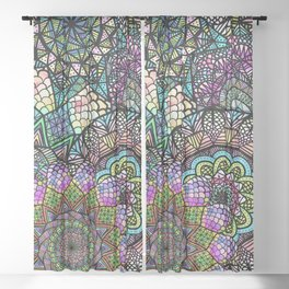 Colorful Floral Mandala Pattern with Geometric Drawings Sheer Curtain