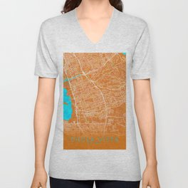 Chula Vista, CA, USA, Gold, Blue, City, Map Unisex V-Neck