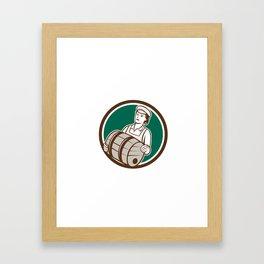 Female Bartender Carrying Keg Circle Retro Framed Art Print