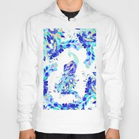 novelty Hoodies featuring Bright blue turquoise gold elegant peacock hand drawn pattern by Girly Trend