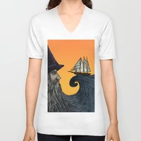 wizard V-neck T-shirts featuring Wizard by Brittany Rae