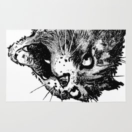 Freaky Cat B&W / Late 19th century illustration of very surprised cat Rug