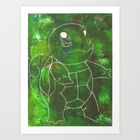 squirtle Art Prints featuring Squirtle by pkarnold + The Cult Print Shop