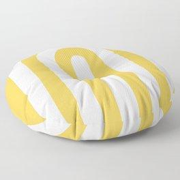 yellow and white retro u stripes Floor Pillow