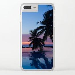 Infinite pool sunset walk Clear iPhone Case