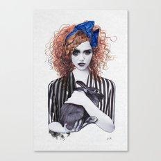 Miss Emma & Her Bunny Canvas Print