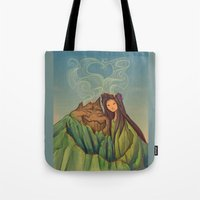 hallion Tote Bags featuring Volcano Love by Karen Hallion Illustrations