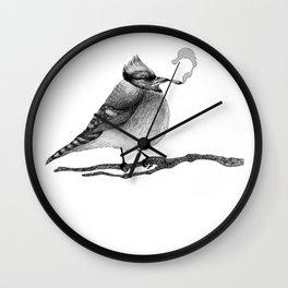 Blue Jay Smoking A Jay Wall Clock
