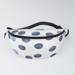 Watercolor . Dark blue polka dot . Fanny Pack