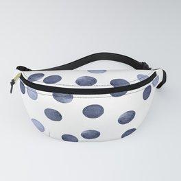 Watercolor . Dark blue polka dot . Fanny Pack