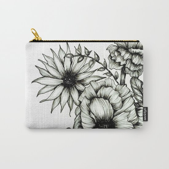 Floral Ink III Carry-All Pouch