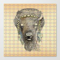bison Canvas Prints featuring Bison by dogooder