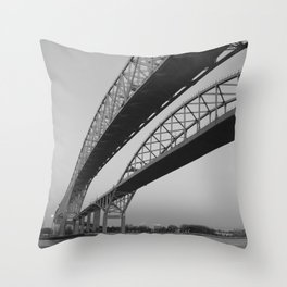 Blue Water Bridge I Throw Pillow