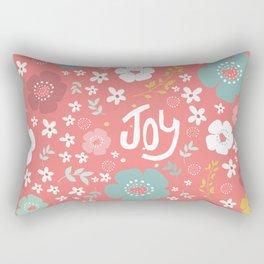 Cute Christmas Flowers Pattern & Text Joy Rectangular Pillow