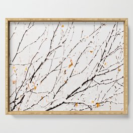 Snowy birch twigs and leaves #society6 #decor #buyart Serving Tray