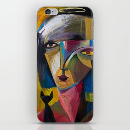 Woman with Black Cat iPhone Skin