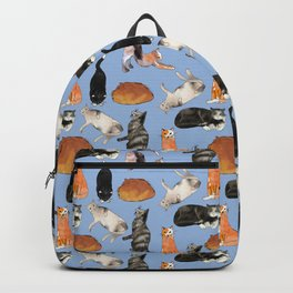 cats cats cats on light blue Backpack