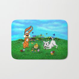 Easter - Spring-awakening - Puppy Capo with Rabbit and Chick Bath Mat