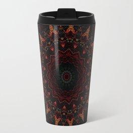 Distressed Red Orange Sepia Mandala Design Travel Mug