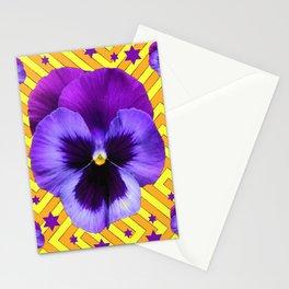 DECORATIVE LILAC PURPLE PANSIES  FLOWERS & PURPLE STARS Stationery Cards
