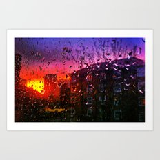 Sunset through water droplets Art Print