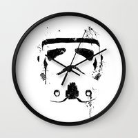 trooper Wall Clocks featuring Trooper by Purple Cactus