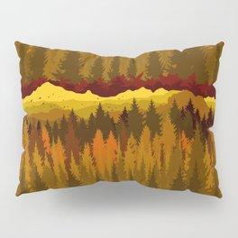 PNW Mountain Landscape in Autumn Sunset Orange Pillow Sham