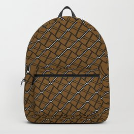 Royal square tile made of gold rhombuses with dark gaps. Backpack