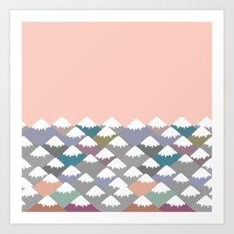 Nature background with Mountain landscape. Gray, pink, blue navy mountain with snow-capped peaks. Art Print