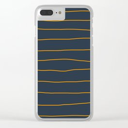 Orange Lines on Petrol Clear iPhone Case