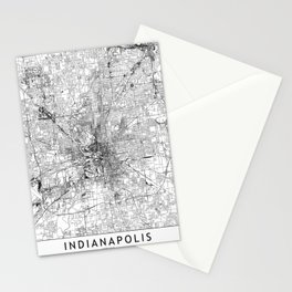 Indianapolis White Map Stationery Cards