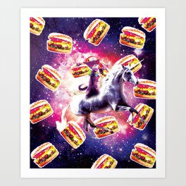 Rave Space Cat On Unicorn - Burger Art Print