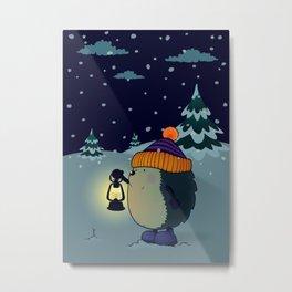 Hedgehog Jan in the winter night Metal Print