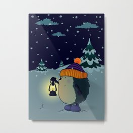 Hedgehog Jan in the winter night Metal Print