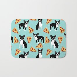 boston terrier pizza dog lover pet gifts cute boston terriers pure breeds Bath Mat