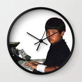 Hardcore coder with wrist band Wall Clock