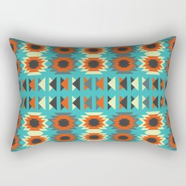 Ethnic triangles in blue Rectangular Pillow